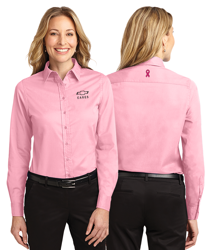 0a793808 Ladies Pink Breast Cancer Awareness Dress Shirt: Cruisin Sports