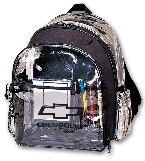 dbc238dfe87 Clear Plastic Backpack w/ Open Bowtie Racing: Cruisin Sports