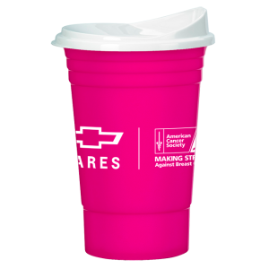 Pink Breast Cancer Awareness Hard Solo Cup w/ Lid
