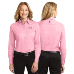 Ladies Pink Breast Cancer Awareness Dress Shirt