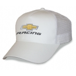 White Mesh Big Head Cap® with Gold Bowtie Racing