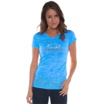 Ladies Blue Neon Burnout T-Shirt
