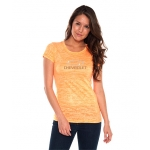 Ladies Orange Neon Burnout T-Shirt