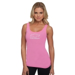 Ladies Jersey Neon Heather Pink Tank Top with Rhinestud Bowtie