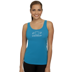 Ladies Jersey Turquoise Tank Top with Rhinestud Bowtie