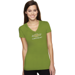 Ladies Sporty V-Neck Kiwi T with Rhinestud Bowtie
