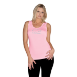 Ladies Baby Rib Pink Tank Top with Rhinestud Bowtie