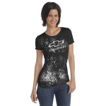 Ladies Open Bowtie Distressed Black T-Shirt