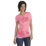 Ladies Open Bowtie Distressed Pink T-Shirt
