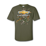 Military Green Realtree Clawed Gold Bowtie T-Shirt