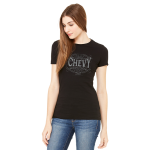 Ladies Metallic Print Chevy T. Black.