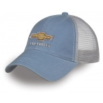 Slate Blue Mesh Unstructured Hat with Gold Bowtie