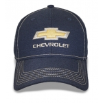 Navy Hat w/ Stone Stitching Gold Bowtie Chevrolet. Fitted
