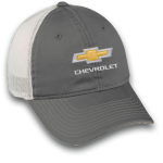 Grey White Mesh Hat Chevrolet Velcro Unstructured