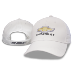 White Performance Fabric Chevy Hat Perforated Accent on Sides Velcro Closure