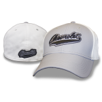 Grey and White Flex Fit Hat Chevrolet Swoosh Performance Fabric