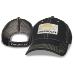 Black Hat Black Mesh Bowtie Chevrolet Patch on Front Velcro Closure
