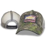 Camo Hat American Flag Gold Bowtie Chevrolet Patch Mesh Back Velcro Closure