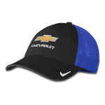 NIKE Mesh Cap w/ Gold Bowtie Chevrolet Black/ Game Royal. M/L