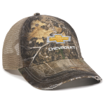 Gold bowtie Chevrolet Realtree Edge Camo Cap w/ Khaki Mesh Back and Frayed Bill
