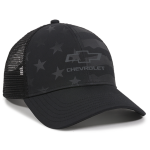 Open bowtie Chevrolet Stars and Stripes Black Mesh Cap