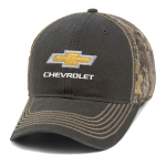 Gold bowtie Chevrolet Charcoal Cap w/ Realtree Edge Camo Back