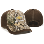 Gold bowtie Chevrolet Realtree Edge Cap w/ Brown Back and Visor Accent