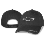 Charcoal grey washed distressed cap with freyed open bowtie Chevrolet