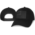 Black cap American flag open bowtie felt patch