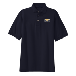 Navy Pique Knit Polo with Gold Bowtie