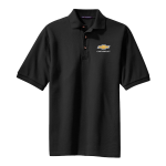 Black Pique Knit Polo with Gold Bowtie