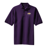 Purple Pique Knit Polo with Gold Bowtie