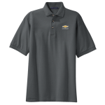 Steel Grey Pique Knit Polo with Gold Bowtie