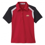 Ladies Red with Black/ Silver Edry Polo with Chevrolet Gold Bowtie