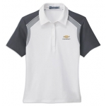 Ladies White with Grey/ Black Edry Polo with Chevrolet Gold Bowtie