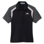 Ladies Black with Black/ Silver Edry Polo with Gold Bowtie