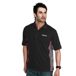 Black/ Charcoal/ Red Moisture Wick Polo with SS Logo