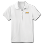 Ladies NIKE White Golf Dri-Fit Polo with Gold Bowtie