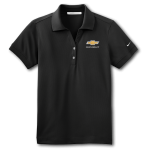 Ladies NIKE Black Golf Dri-Fit Polo with Gold Bowtie