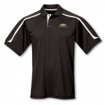 Black withWht Contrast Moisture Wick Polo with Gold Bowtie Camaro