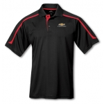 Black with Red Contrast Moisture Wick Polo with Gold Bowtie Camaro