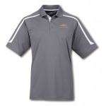 Gray withWht Contrast Moisture Wick Polo with Gold Bowtie Camaro