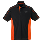 Black/Orange Color Block Polo with Open Bowtie