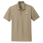 Tan Performance Polo with Gold Bowtie