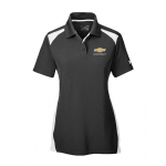 Ladies Under Armour Black/White Colorblock Polo w/GBT Chevrolet