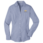 Ladies Plaid  Easy Care Dress Shirt Navy