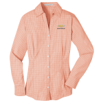 Ladies Plaid  Easy Care Dress Shirt Orange