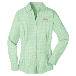 Ladies Plaid  Easy Care Dress Shirt Green