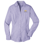 Ladies Plaid  Easy Care Dress Shirt Purple