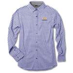 Ladies Blue Gingham 4-way Stretch Woven Chevrolet Shirt